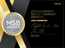 Fairfield Inn & Suites in Twin Falls, Idaho was awarded the 2019 Silver Brand Award by Marriott for being ranked in the top 20% for Overall GSS Score – Intent to Recommend (January – December 31, 2019).
