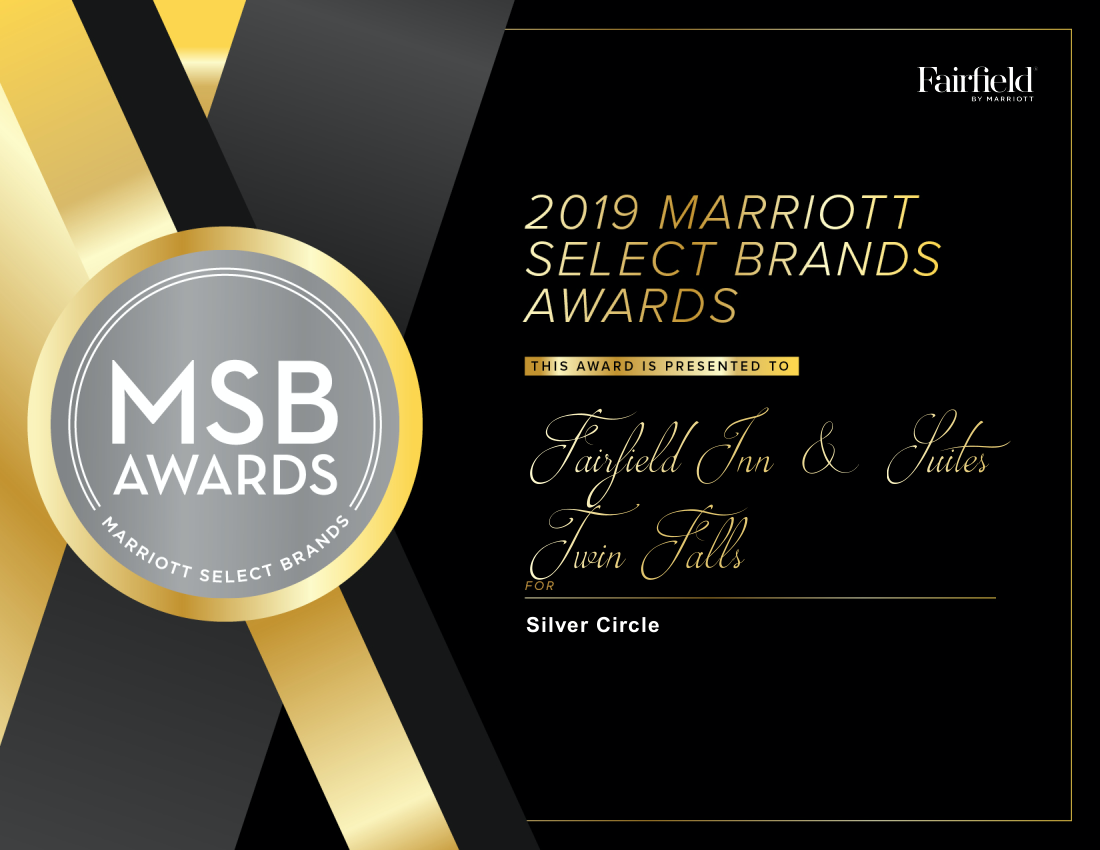 Fairfield Inn & Suites in Twin Falls, Idaho was awarded the 2019 Silver Brand Award by Marriott for being ranked in the top 20% for Overall GSS Score – Intent to Recommend (January – December 31, 2019).    The Fairfield Inn & Suites in Twin Falls also won other awards such as:  … Continue Reading..